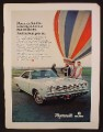 Magazine Ad For Plymouth Satellite Car, Front & Side View, Hot Air Balloon, 1968, 8 1/4 by 11