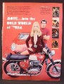 Magazine Ad For BSA Spitfire MK IV Motorcycle, Ferrari 250 LM, Sexy Woman, 1968