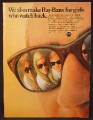 Magazine Ad For Bausch & Lomb Ray-Ban Sunglasses, For Girls Who Watch Back, Ray Ban, 1968