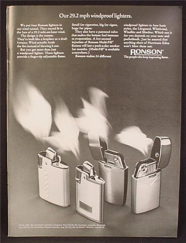 Magazine Ad For Ronson Butane Windproof Lighters, 4 Models Pictured, 1968, 8 1/4 by 11