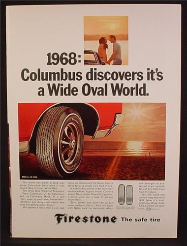 Magazine Ad For Firestone Super Sports Wide Oval Tires, Tire, Red or White Stripe, 1968
