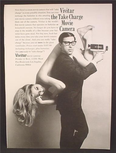 Magazine Ad For Vivitar Zoom Movie Camera, Take Charge, Man With Nude Woman, 1968