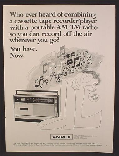 Magazine Ad For Ampex Micro 30 Portable Radio With Cassette Recorder, 1968, 8 1/4 by 11