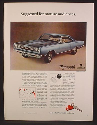Magazine Ad For Plymouth GTX Car, Suggested For Mature Audiences, 1968, 8 1/4 by 11