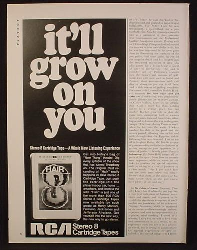 Magazine Ad For RCA Stereo 8 Track Cartridges Tapes, Hair American Tribal Rock Musical, 1968