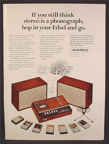 Magazine Ad For Ampex Micro 85 Cassette Tape Recorder, Speakers, Cassettes, 1968