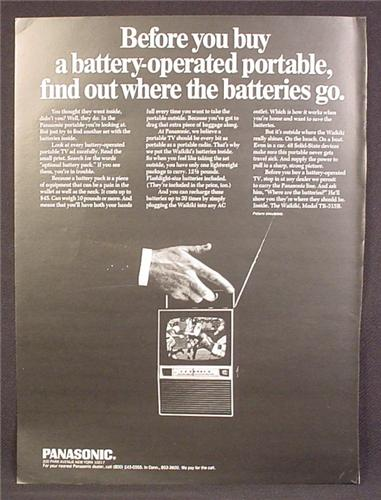 Magazine Ad For Panasonic Waikiki Model TR-315B Battery Operated Portable TV Television, 1968