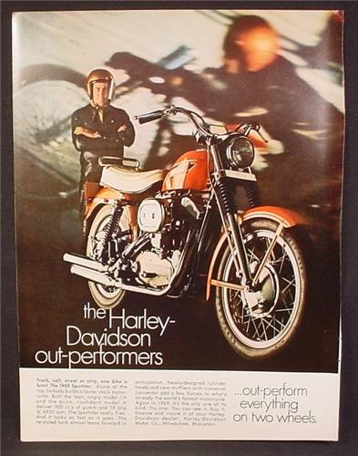Magazine Ad For Harley-Davidson Sportster Motorcycle, Harley Davidson, 1969, 8 1/4 by 11
