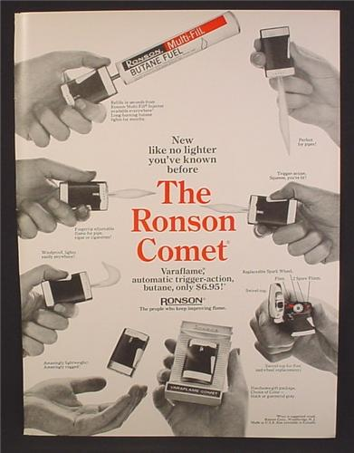 Magazine Ad For Ronson Comet Cigarette Lighter, Varaflame, Trigger Action, 1969