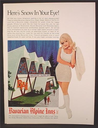 Magazine Ad For Bavarian Alpine Inns, Restaurant & Bar, Sexy Woman in Mini Dress, 1969