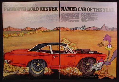 Magazine Ad For Plymouth Road Runner Car, Warner Bros Cartoon, 383 Engine, 1969, Double Page