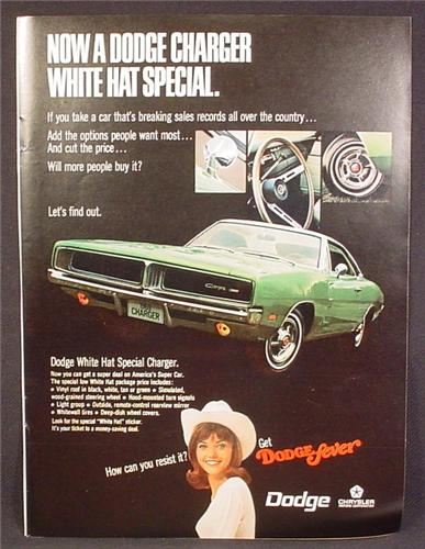 Magazine Ad For Dodge Charger Car, White Hat Special, Front & Side View, 1969, 8 1/4 by 11