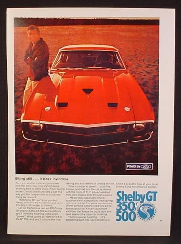 Magazine Ad For Shelby GT 350, GT 500 Red Car, Front View, 428 Cobra Jet Engine 1969