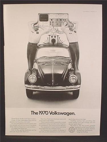 Magazine Ad For VW Volkswagen Beetle Bug Car, Diagnostic Equipment Hooked Up To Roof, 1969