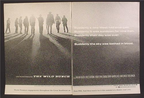 Magazine Ad For The Wild Bunch Movie, Sam Peckinpah Western, Sky Was Bathed In Blood, 1969