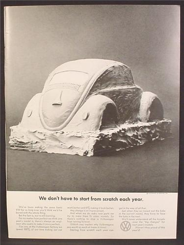 Magazine Ad For VW Volkswagen Beetle Bug Car, Plaster Mold, We Don't Start From Scratch, 1969