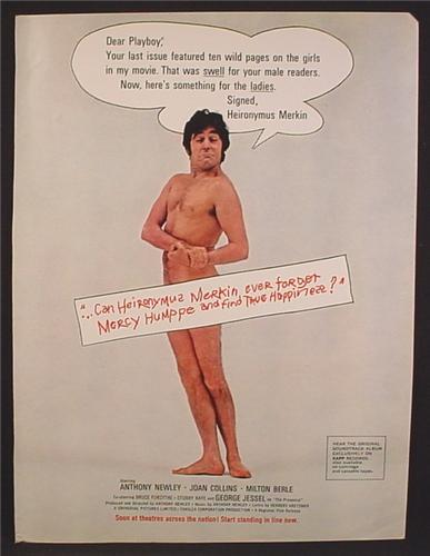 Magazine Ad For Heironymus Merkin Movie, Nude Anthony Newley, Joan Collins, 1969