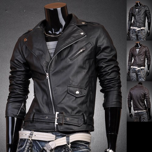 Jeansian Mens Designer PU Faux Leather Jackets Coats Shirt ...