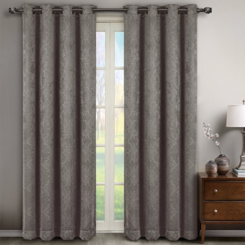 Bella Grey Embossed Grommet Blackout Curtain Panels