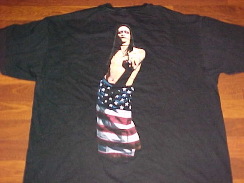 ae81d2611542 Marilyn Manson Hello My Name Is .....Wrapped in US Flag T-Shirt ...