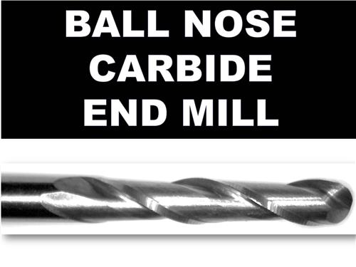 "2.50mm  .098""  Ball Nose Two Flute  Carbide End Mill .470"" Cut Depth"