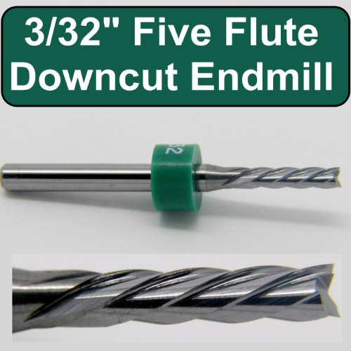 "3/32"" five flute right hand end mill with left hand helix"
