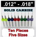 "Two Pieces Each Size  .012"" .0135"" .0145"" .016"" .018"" - Solid Carbide Drills S2"
