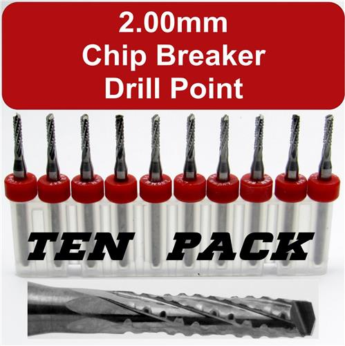 "Ten 2.00mm Router Bits - Carbide - Chip Breaker - Drill Point Tip - 1/8"" Shaft"