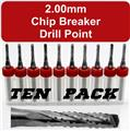 Ten 2.00mm Router Bits - Carbide - Chip Breaker - Drill Point Tip - 1/8