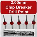 FIVE 2.00mm Router Bits - Carbide - Chip Breaker - Drill Point Tip - 1/8