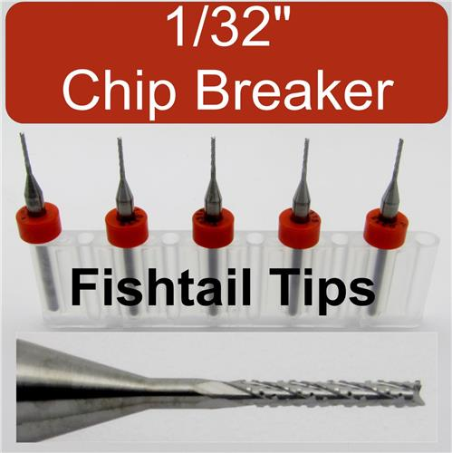 """FIVE 1/32"""" Router Bits - Carbide - Chip Breaker - Fish Tail Tip Lightly Used"""