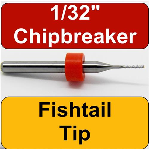 """1/32"""" Router - Carbide - Chip Breaker Flutes - Fishtail Tip 1/8"""" Shaft CNC Lighly Used- One Piece"""