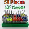 "Fifty Carbide Drills - 25 Sizes from #80 to #56  - .0135 to .046"" 1/8"" Shank cnc D7"