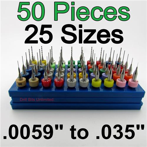 "Fifty Carbide Drills - 25 Sizes from #97 - #65 .0059 to .035"" 1/8"" Shank cnc D12"