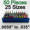 Fifty Carbide Drills - 25 Sizes from #97 - #65 .0059 to .035