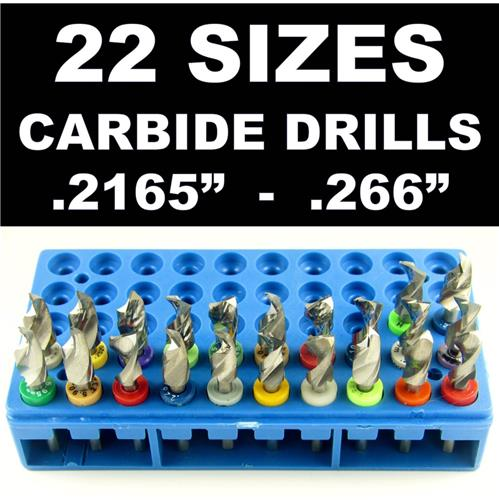 Carbide Drill Bit Set - 22 Sizes!  - pcb cnc solid carbide jewelry model     LG4