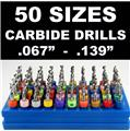 Carbide Drill Bit Set - 50 Sizes!  - pcb cnc solid carbide jewelry model     LG2