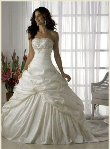 Embellished Bodice Rushed Drop Waist Wedding Dress - Tajibas Essentials