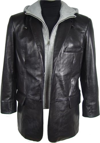 d149ac58605 1004 Men Soft Black Leather Blazer with Hoodie Tall Big All Size -  tailoring svc pants jackets for big man big women tallgirls petit size long  by leather ...