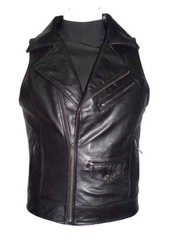 1161 Sleeveless Classic Black Leather Motorcycle Vest For