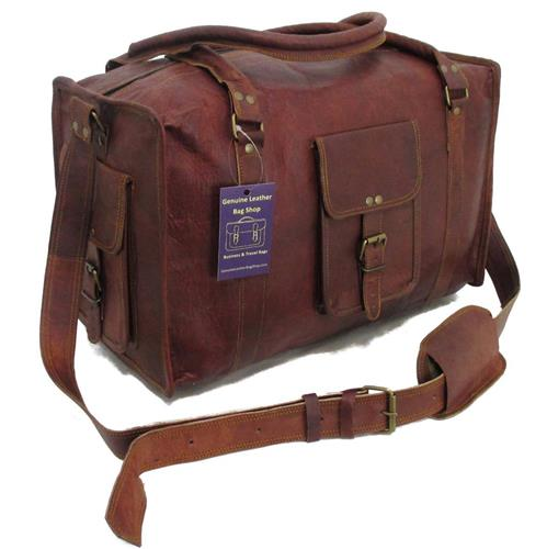 18 11x9 Mens Vtg Genuine Leather Travel Weekend Luggage Carry On Gym Duffle Bag