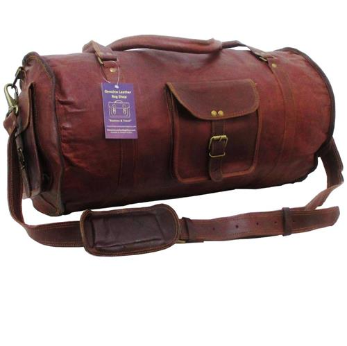 21 X11x11 Mens Vtg Genuine Leather Carry On Weekender Gym Duffle Bag