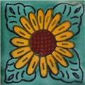 mexican tile green sunflower