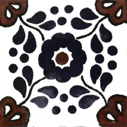 Mexican Tile Campeche Mexican Tiles Kitchen Bath Stairs - Black and white talavera tile