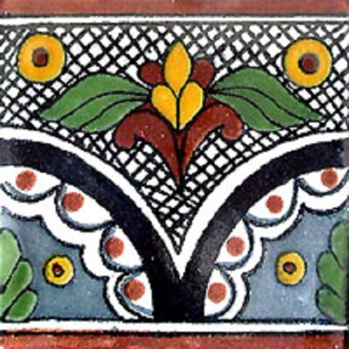 Mexican Border Tile Camila Mexican Tiles Kitchen Bath Stairs - Black and white talavera tile