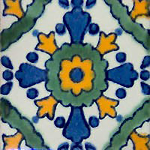 blue, yellow, green and white mexican tile