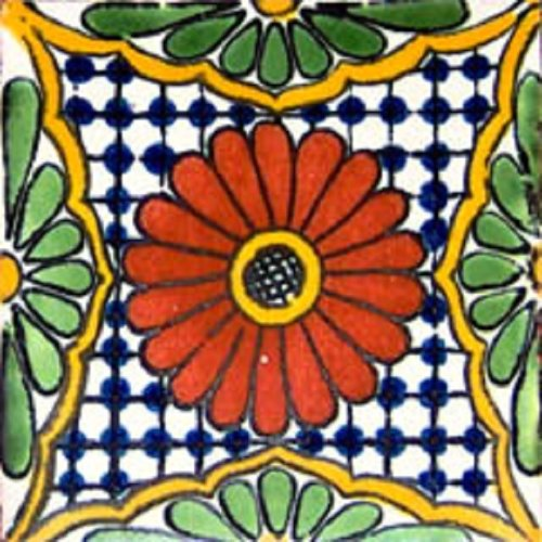 mexican tile red flower