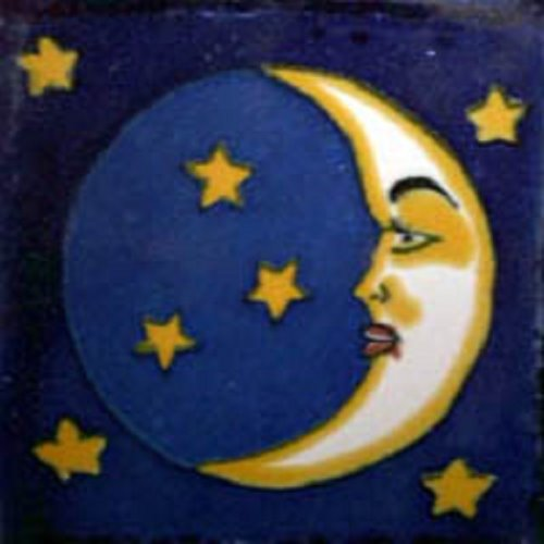 Mexican Tile Moon and Stars
