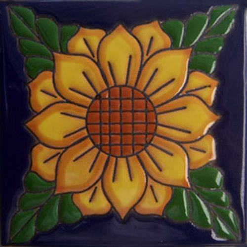 Handmade Relief Tile Sunflower