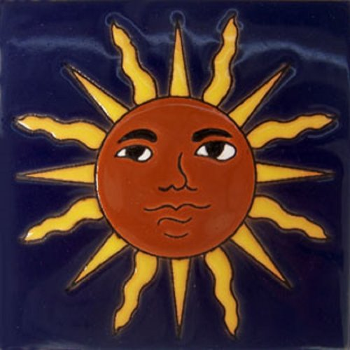 Hand Painted Relief Tile Sun